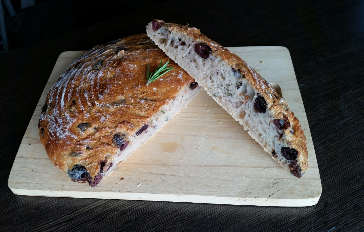 Olive Sourdough with Fresh Rosemary and Chili Flakes