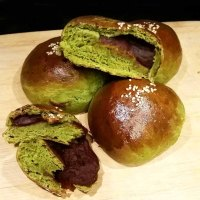 Matcha Green Tea Milk Bread with Azuki Red Bean Filling