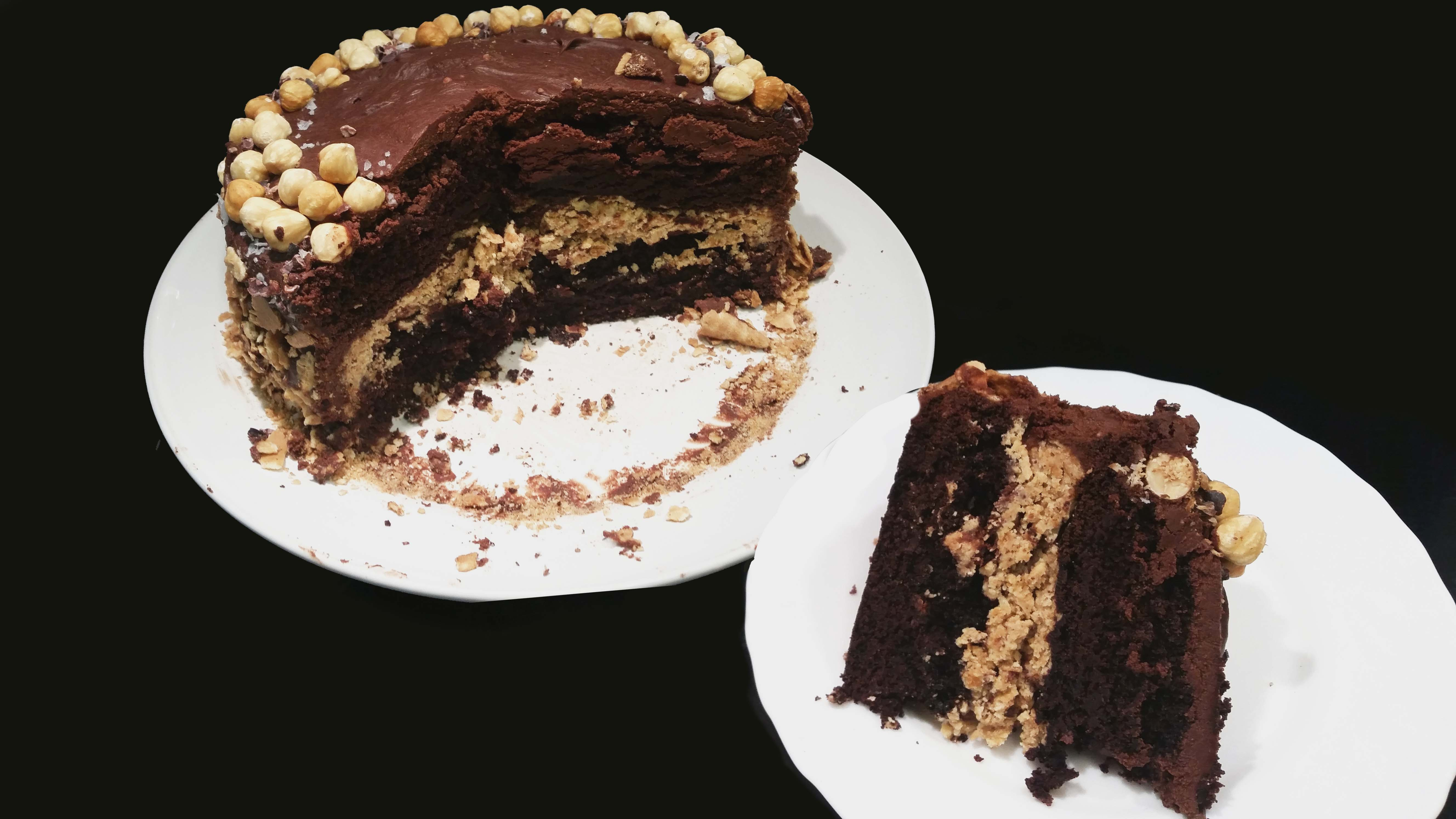 Devils Food Cake With Crunchy Hazelnut Filling Fowlbakes