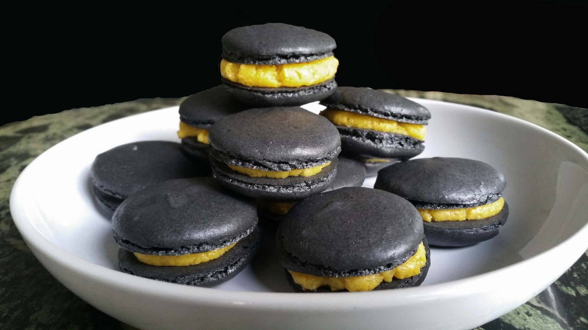 Charcoal Macarons with Salted Egg Yolk Custard Filling