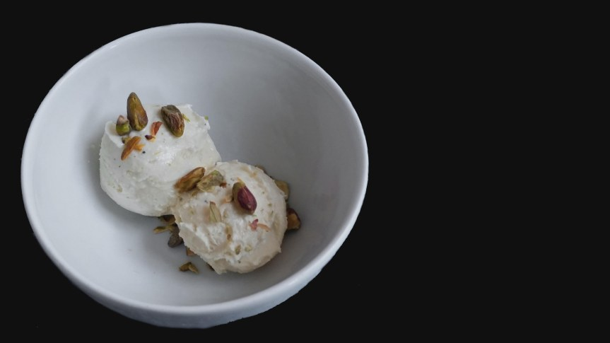 Gum Mastic, Cardamom, Rosewater, and Pistachio Ice Cream
