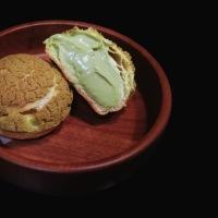 Choux au Craquelin with Matcha Namelaka (Green Tea Cream Puffs)