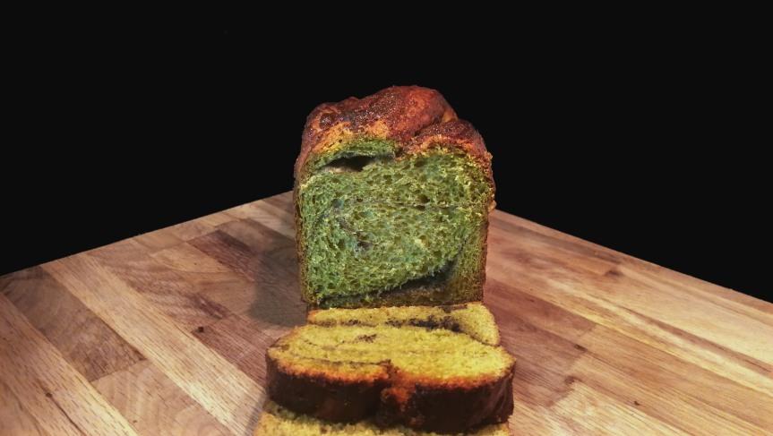 Matcha Green Tea Babka with Black SesameSwirl